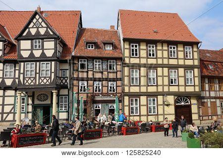 Quedlinburg, Germany - April 09, 2016: Half-timbered houses on Schlossberg in Quedlinburg in Saxony-Anhalt