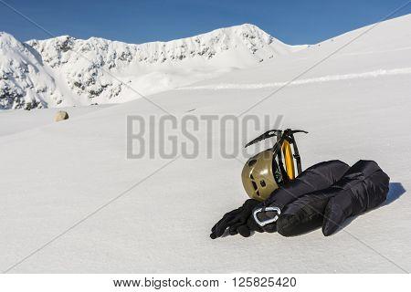 Helmet, Gloves And Ice Axe.
