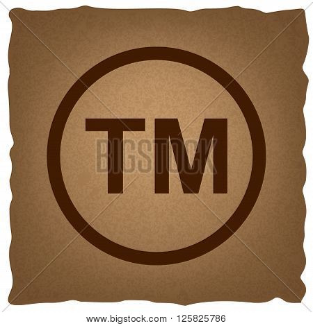 Trade mark sign. Coffee style on old paper.