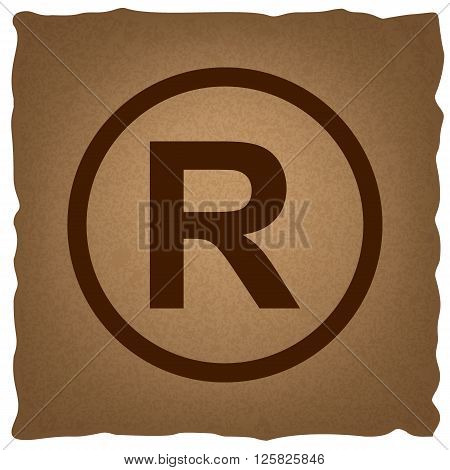 Registered Trademark sign. Coffee style on old paper.