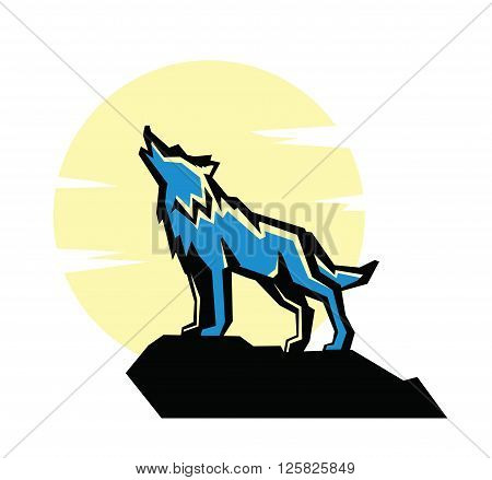 vector black wolf howl emblem on white background