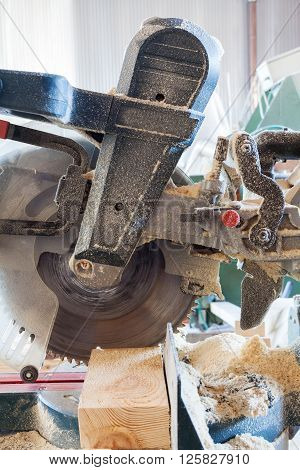 Closeup of electric circular cut off saw