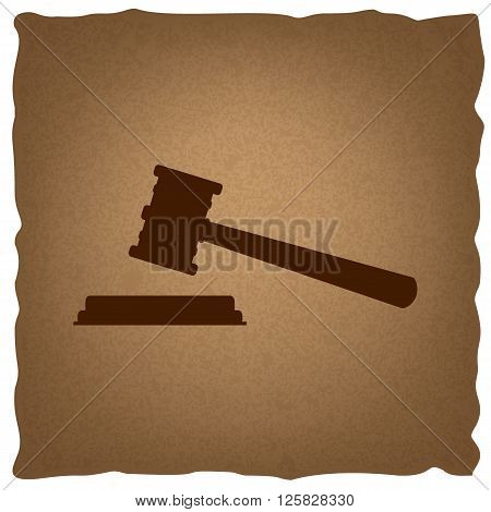 Justice hammer sign. Coffee style on old paper.