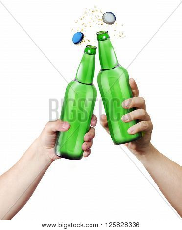 Clink glasses. Two hands holding a bottles. Template for the ability to use any brand label on a white background
