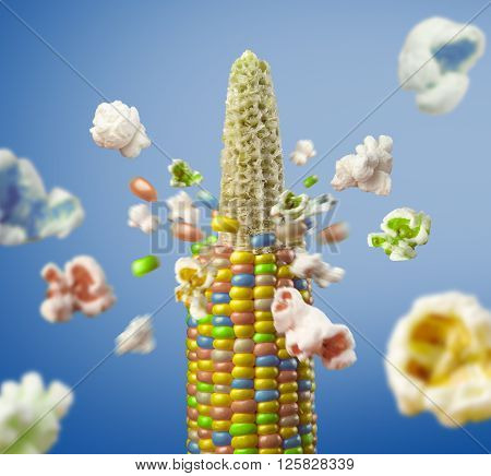 color corncob explodes and produces popcorn healthy vegetarian food. on the blue background