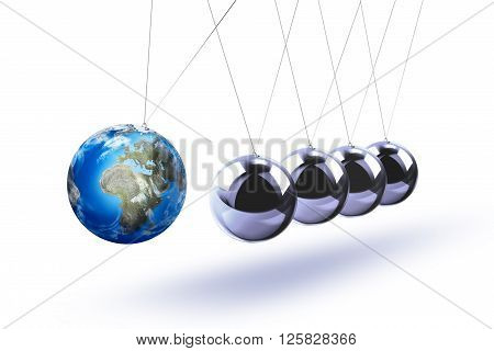 The pendulum of Newton as the Earth symbolizing the risk, dynamics, fragility, etc. On the white background