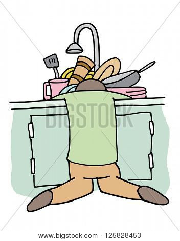 An image of a Tired Dishwasher Man.