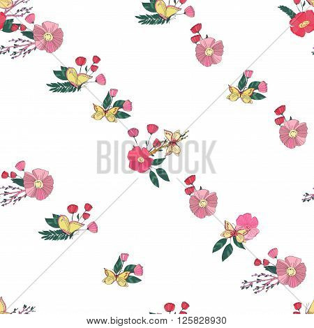 Floral Seamless Vintage Pattern With Wildflowers and Butterfly on White Background. Digital or wrapping paper