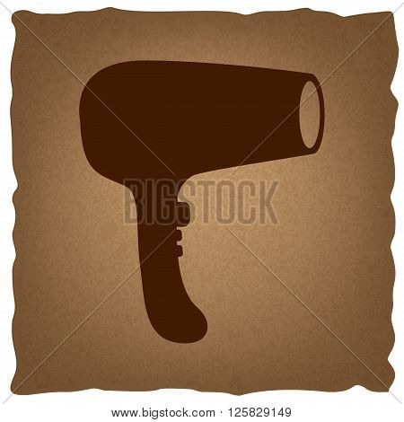 Hair Dryer sign. Coffee style on old paper.