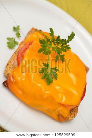 Grilled toast with tomatoes with cheese gratine