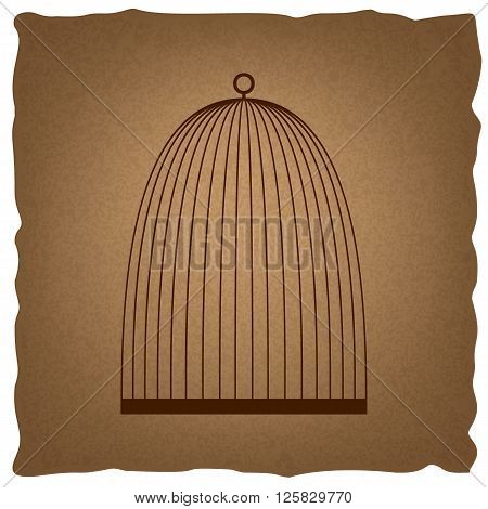 Bird cage sign. Coffee style on old paper.