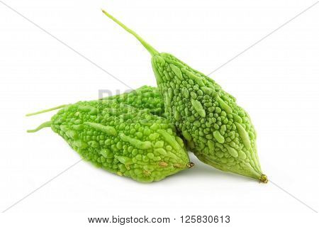 Bitter gourd vegetable isolated on white background