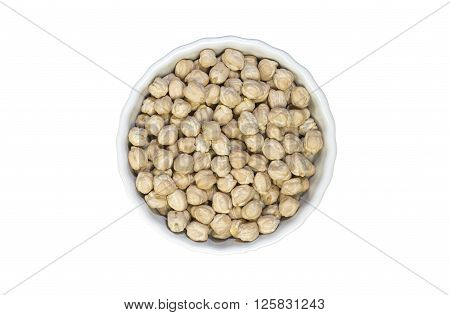 Garbanzo (chickpeas) seeds in aceramic pot isolated on white background