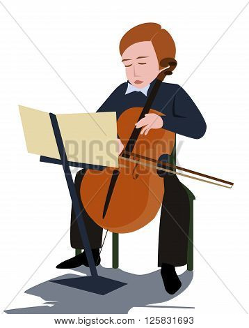 boy playing violoncello - cartoon vector colorful illustration