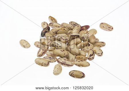 Yellow Saluggia beans pile isolated on white background