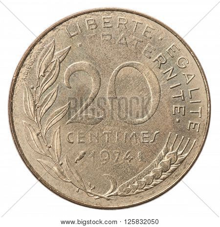 Twenty French Centimes