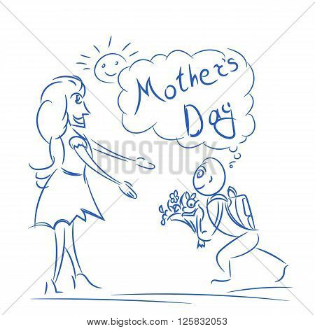 Mothers day in sketch. Vector doodle illustration with mom and son for mother's day. Children's colorful drawing pencils to celebrate Mother's Day. Vector composition with text mothers day