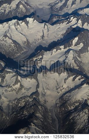 Aerial view of the Alps from a plane