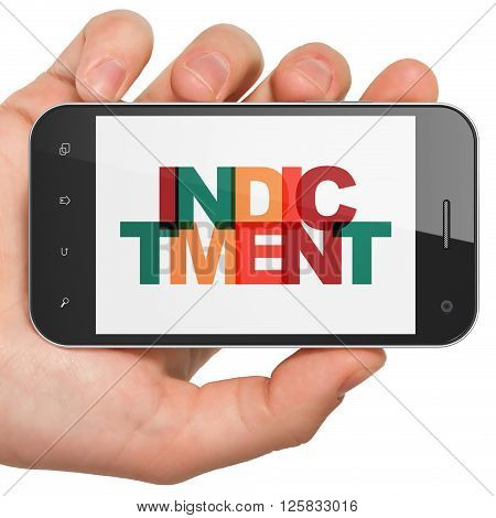 Law concept: Hand Holding Smartphone with Indictment on  display