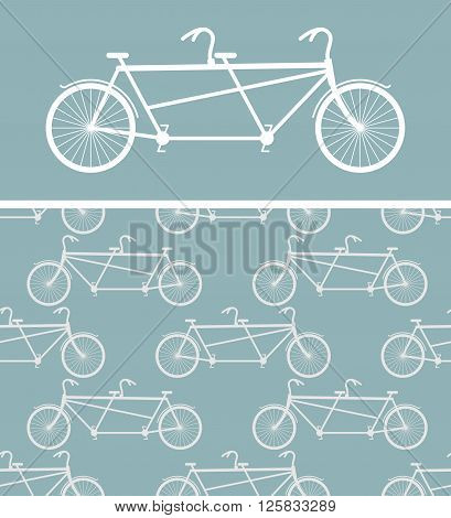 Bike Seamless Pattern. Bicycle Tandem Texture. Ornament Of Wheeled Vehicle. Ornament For Baby Cloth