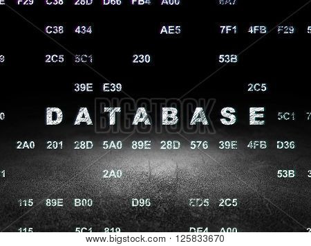 Database concept: Database in grunge dark room