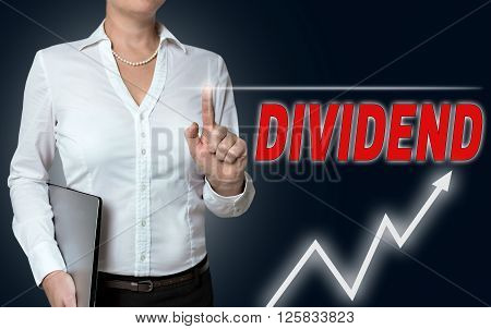 Dividend Touchscreen Is Operated By Businesswoman Background