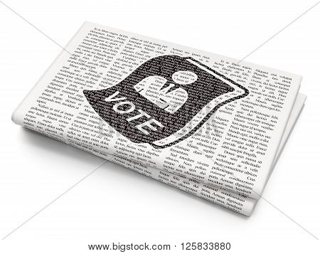 Political concept: Ballot on Newspaper background