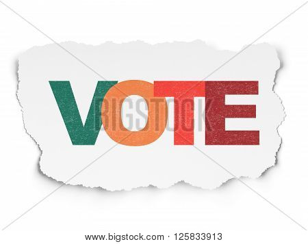 Political concept: Vote on Torn Paper background