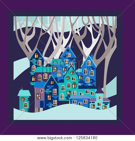 Winter. Bandana print or kerchief square pattern design style for print on fabric. Card with night town in snowdrifts. Vector illustration.