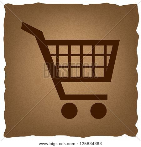 Shopping cart sign. Coffee style on old paper.