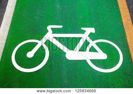 Bike lane signs painted onto a green bike lane