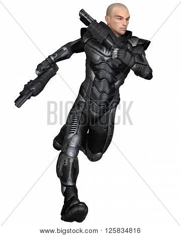 Science fiction illustration of a male future soldier in protective armoured space suit, running holding pistols, 3d digitally rendered illustration