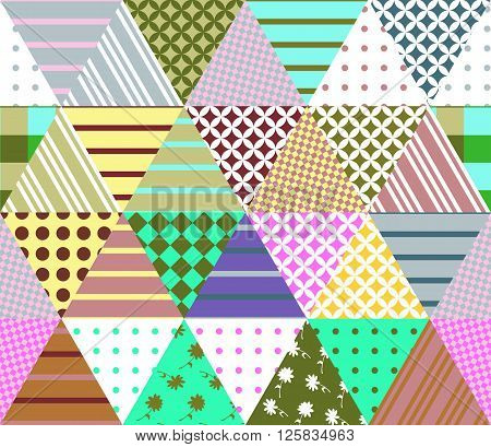 Colorful seamless patchwork pattern. Geometric triangle tiles. Vector illustration of quilt. Can be used for textiles, fabrics, textures, wrapping paper.
