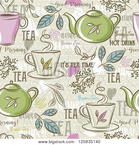 Beige seamless patterns with tea set leafs cupkettle flower and text. Ideal for printing onto fabric and paper or scrap booking.