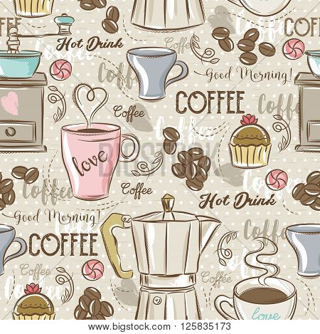 Beige seamless patterns with coffee set coffee maker mouffincup flower and text. Ideal for printing onto fabric and paper or scrap booking.