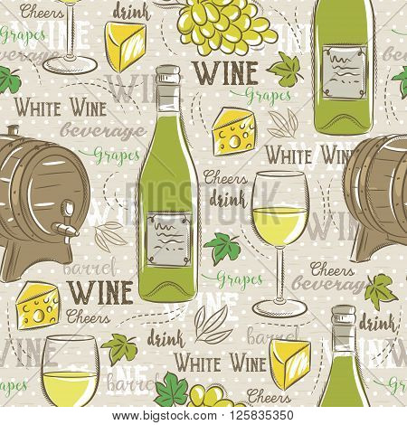 Beige seamless patterns with white wine set cask glass grapes cheese and text. Ideal for printing onto fabric and paper or scrap booking.