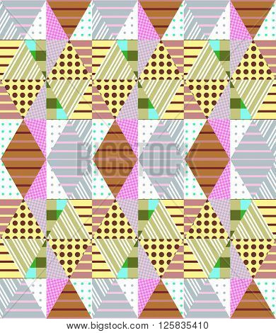 Ethnic seamless patchwork pattern. Geometric tribal ornament. Vector illustration of quilt. Can be used for  textiles, fabrics, textures, wrapping paper.