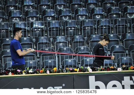 Tennis Player Simona Halep Training Before A Match