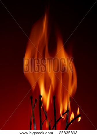 Macro shot of a flaming matchstick on a red background