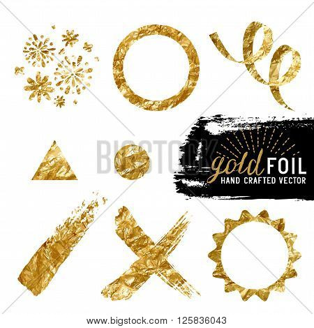 Vector Gold Foil Collection. A set of vector golden foil elements for backgrounds. Vector illustration.