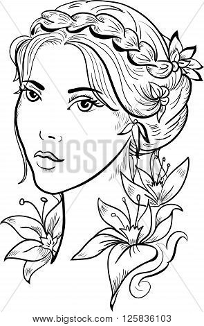 Stylish beautiful model for fashion design. Hand-drawn graphic illustration. Portrait of pretty girl with flowers. Sketch drawing, elegant vector style.