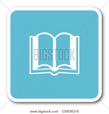 book blue square internet flat design icon