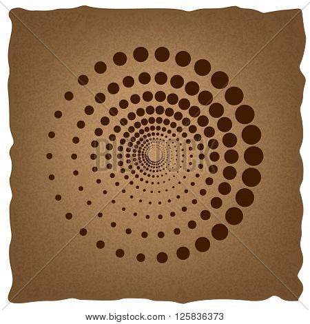 Abstract technology circles sign. Coffee style on old paper.