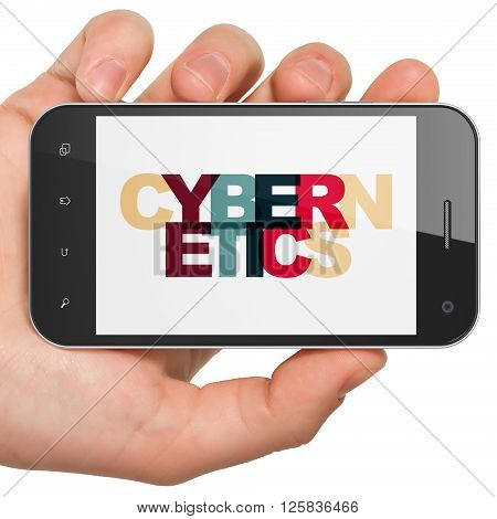 Science concept: Hand Holding Smartphone with Cybernetics on  display