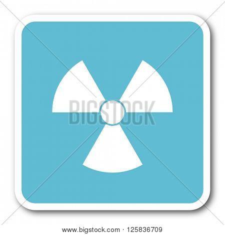 radiation blue square internet flat design icon