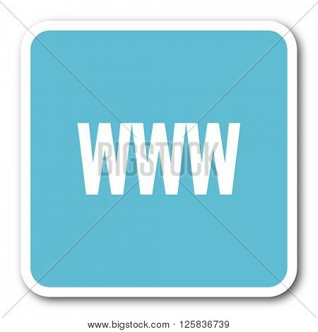 www blue square internet flat design icon
