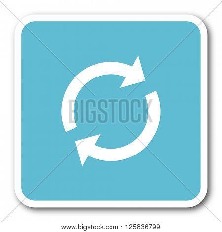 reload blue square internet flat design icon