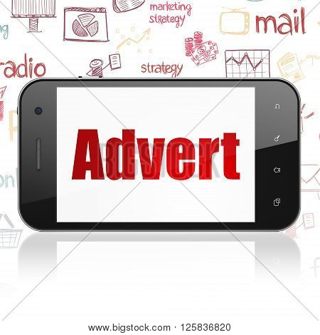 Advertising concept: Smartphone with Advert on display