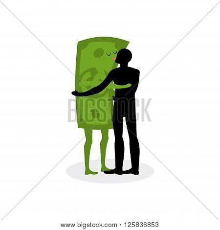 Kiss Money. Man Embraces Dollar. Hot Kiss On Date With Paper Bills. Love In Cash. Romantic Financial