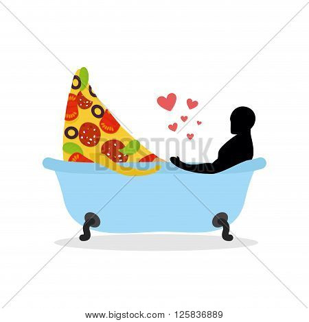 I Love Food. Piece Of Pizza And Man In Bath. Man And Pizza Is Taking Bath. Joint Bathing. Passion Fe